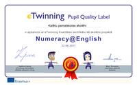 Saņemam eTwinning Kvalitātes sertifikātu